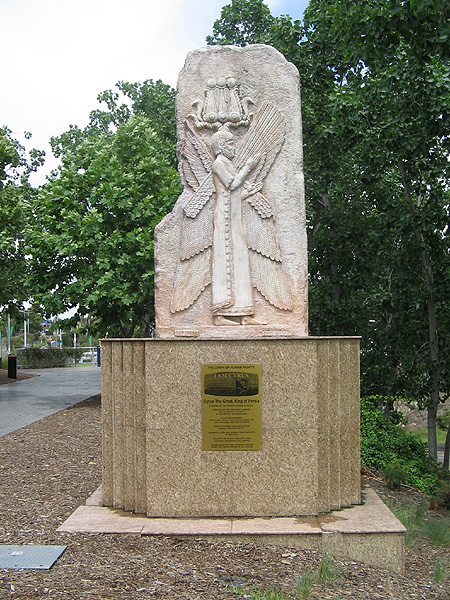 Statue of Cyrus The Great in the Bicentenil Park in Australia