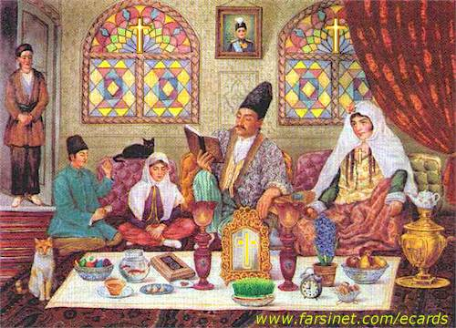 Traditional Persian family NoRuz gathering - Haftcinn Table