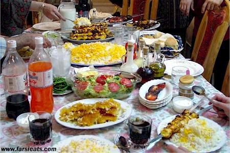 Persian Feat of Saffron Rice, Kabob, Dough, Soda, and more