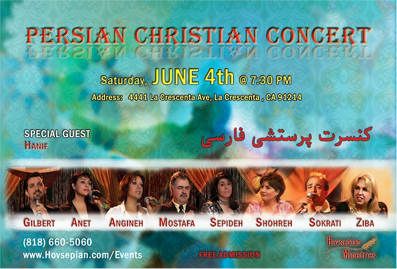 Persian Christian Concert By Gilbert Hovsepian June 4, 2011 in La Crescent California accompanied by Anet, Shohreh, Sepideh, Hanif, Mostafa, Sokrati, and other Iranian Christian Worship Music Gospel Music Artists