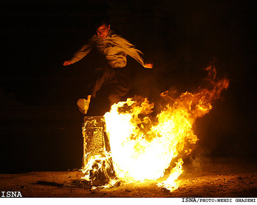Iranians celebrate the coming of Spring with Fire Festival on the Eve of last Wednesday of the year called Chahar Shanbeh Suri, Noruz Traditions at FarsiNet