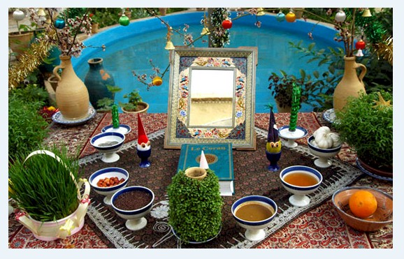 Persian New Year 2577 Ceremonial New Year Spread caled Haft-Seen from FarsiNet with Prayers and Best Wishes for all Iranian, Afghans, Kurds, Tajiks, ... who celebrate NowRuz