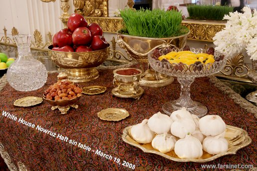 United States of America President George Bush and Laura Bush celebrate Nowruz in White House on March 19, 2008 by setting up a Traditiona Persian New Year Spread called Haft Sin