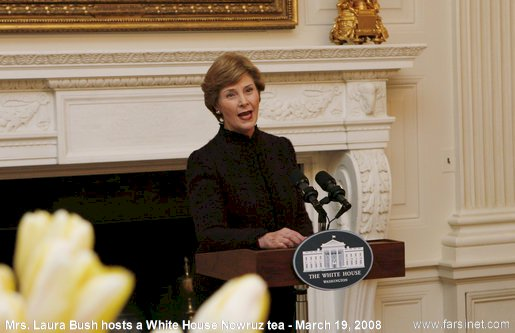 United States of America First Lady Mrs. Laura Bush hosts a Tea Party in White House to celebrate Nowruz Persian New year on Wednesday March 19, 2008