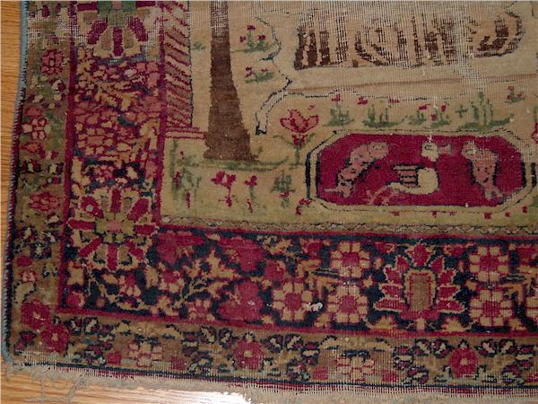 Kerman Laver Antique Persian Rug Closeup Portrait Of Four Sufi Masters In Prayer Garmet
