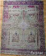 Antique Persian Rug, Kerman Lavar Sufi darvish Portraits, 1800s