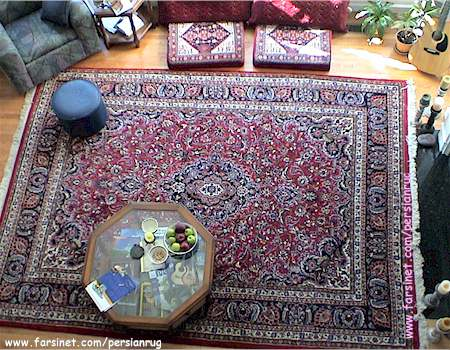 Living room decorated width a Mashhad Hunting Scence design Persian ...