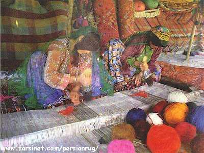 ... Qashqai Women Making Persian Rug